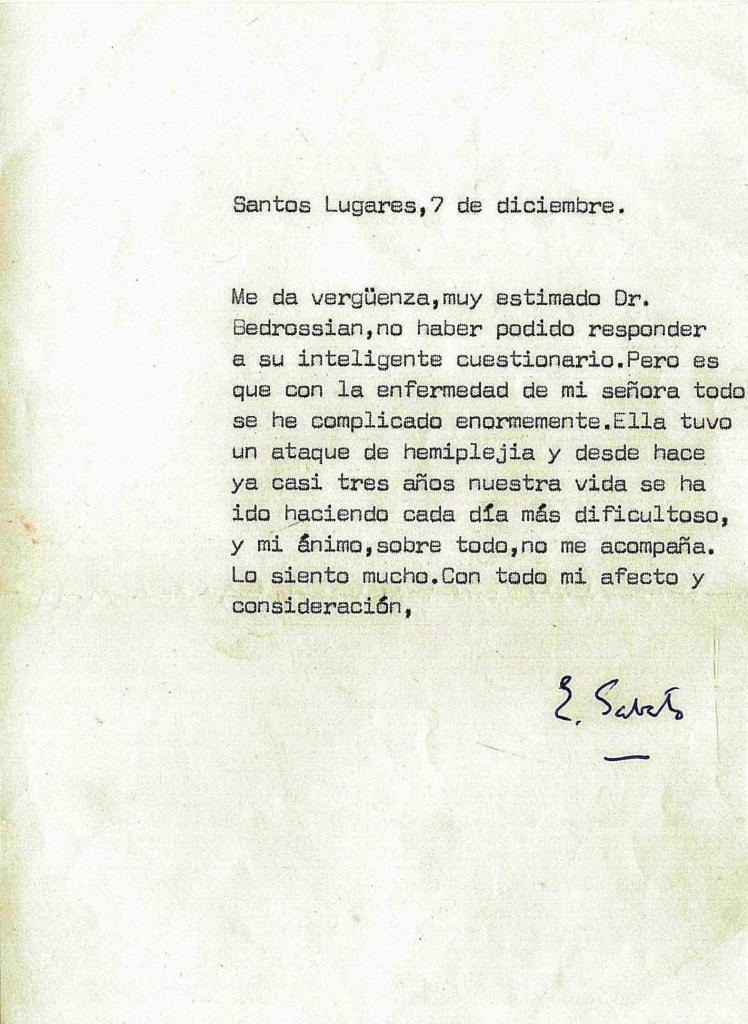 Carta de Ernesto Sábato del 7 de diciembre de 1988