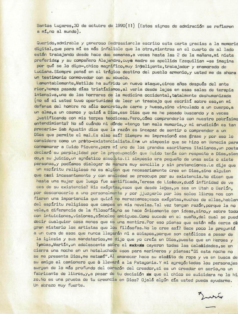Carta de Ernesto Sábato del 30 de octubre de 1990
