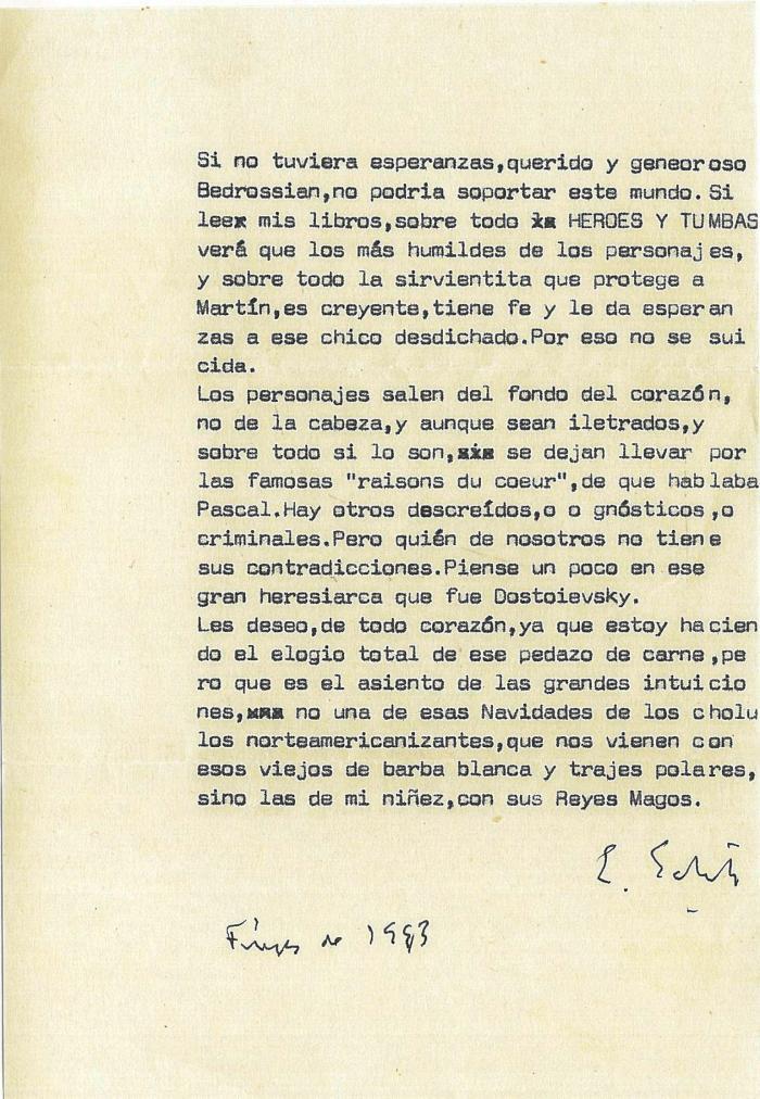 Carta de Ernesto Sábato del 16 de diciembre de 1993