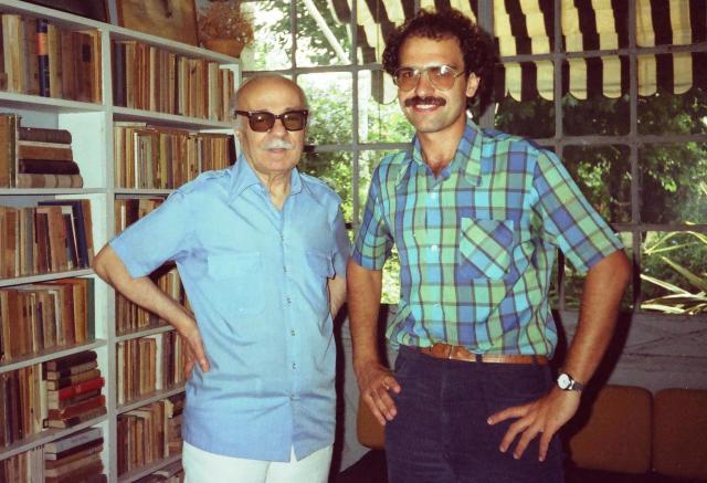Con Ernesto Sábato en su casa de Santos Lugares