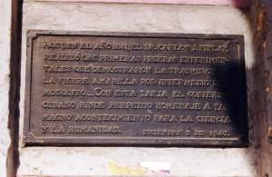 Placa conmemorativa de los aportes del Dr.Finlay en La Habana, Cuba