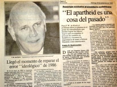 Vista de la entrevista publicada en El Cronista Comercial del 30/07/1990