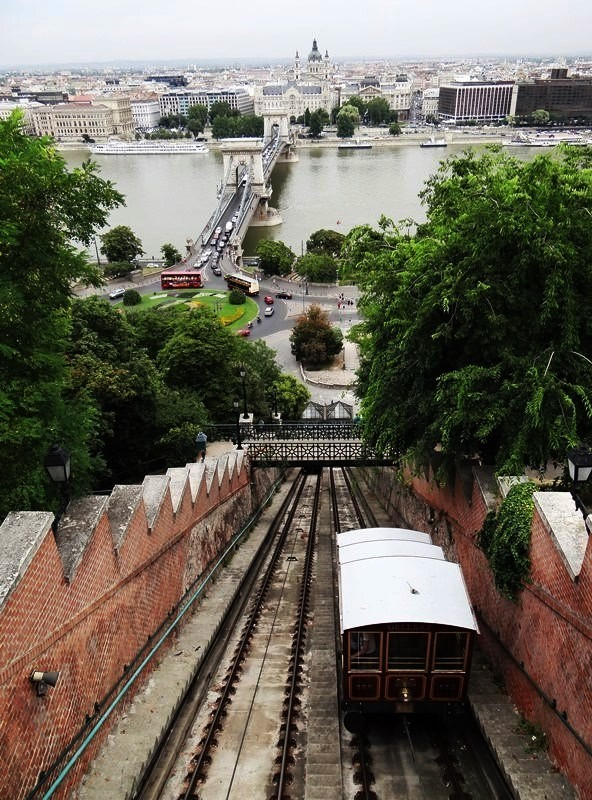 Vista desde la Estación del Funicular del Castillo del río Danubio, Puente de las Cadenas y ribera de Pest