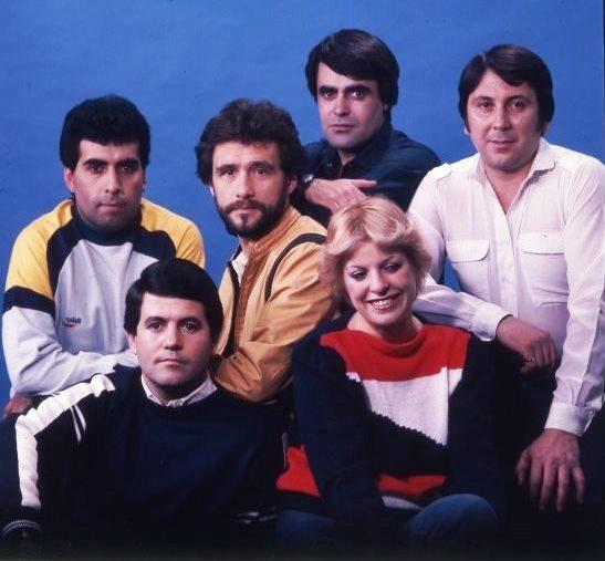 Pueblo de Dios: Arriba Oscar Allende, Rabito, Rubén Lacrouts y Rubén Soria; debajo Juan Carlos Iborra y Nora de Allende
