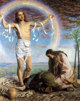 Cristo resucitado con las dos Marías en el jardín de José de Arimatea - William Hunt (iniciada en 1847 y finalizada c 1900)