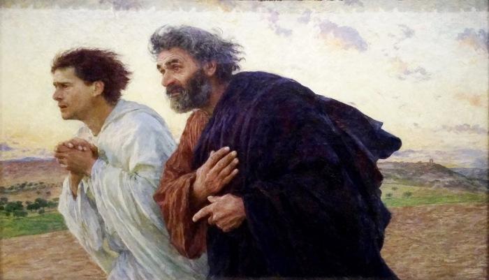 Los discípulos Pedro y Juan corren al sepulcro ( Eugène Burnand) 01