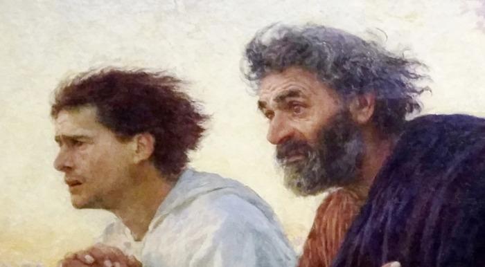 Los discípulos Pedro y Juan corren al sepulcro ( Eugène Burnand) 06